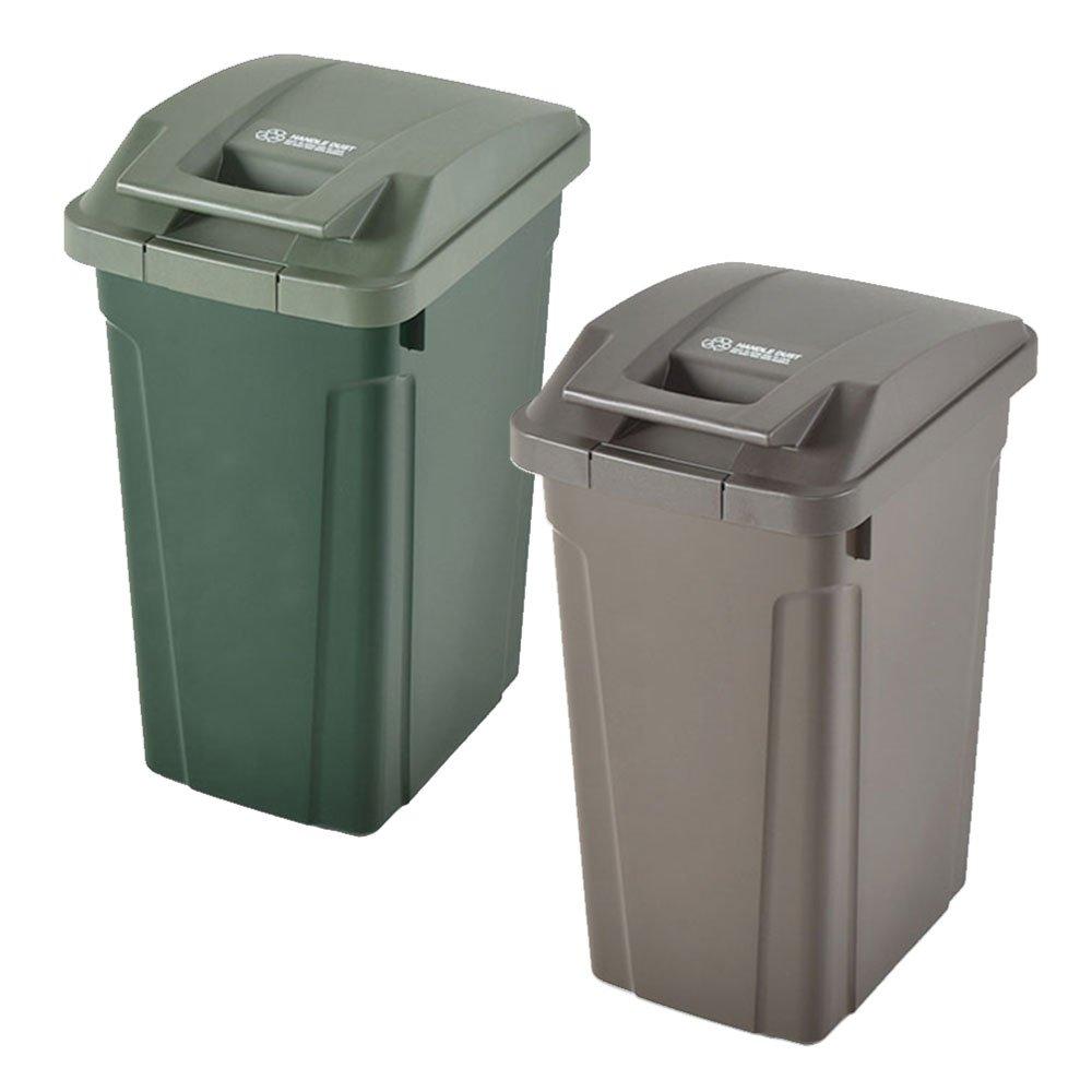 ASVEL SP ハンドル付ダストボックス 35L 2個セット ゴミ箱 ごみ箱 ダストボックス おしゃれ ふた付き アスベル (グリーン×ブラウン) B0747QJPNHグリーン×ブラウン