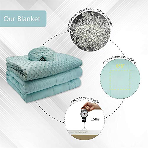 Weighted Blanket Sleep Set with Glass Beads- Premium Ultra-Soft Removable Cover, Weighted Sleep Mask | 60x80'' 15Lb | 2.0 Plush, Breathable Adults Heavy Blanket | Queen Size Beds(Aqua, Dot Minky)