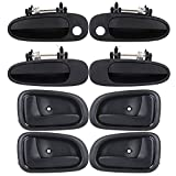SCITOO Door Handles Front Rear Right Left Side fit Geo Prizm Toyota 1993-1997 Black(8pcs0