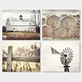 Farmhouse Decor Wall Art Print Set of 4 Unframed 8x10'' Photos, Country Rustic Landscape Prints. Barn Fence Hay Windmill. Beige, Tan, White.