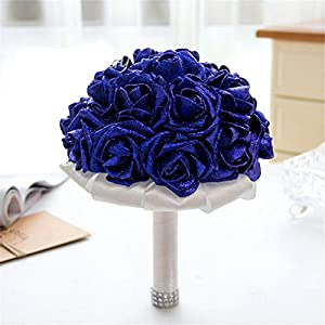 FantasyDay Rose Flower Wedding Bouquet, Dazzling Bridesmaid Bouquet Bridal Bouquet with Crystals Soft Ribbons, Flowers Leaf Wedding Floral Decor Bouquet for Wedding, Party and Church, Sapphire Blue 22
