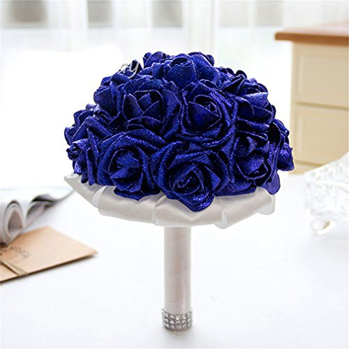 Bouquet Wildflower Wedding (FantasyDay Rose Flower Wedding Bouquet, Dazzling Bridesmaid Bouquet Bridal Bouquet with Crystals Soft Ribbons, Flowers Leaf Wedding Floral Decor Bouquet for Wedding, Party and Church, Sapphire Blue)