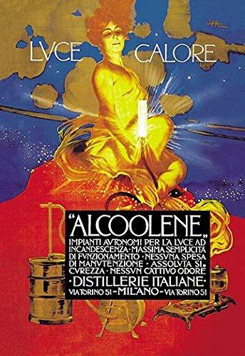 Great Italian advertising poster for a fuel distillery usedfor creating bright light Designed by Leopoldo Metlicovitz (Trieste 1868 - Ponte Lambro 1944) an Italian painter advertiser illustrator an
