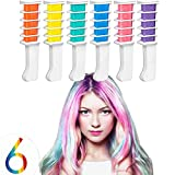 Kyerivs Hair Chalk Comb Temporary Hair Color Dye For Kid Girls Party and Cosplay DIY Festival Dress up Works on All Hair Colors White Handle Mini 6PCS