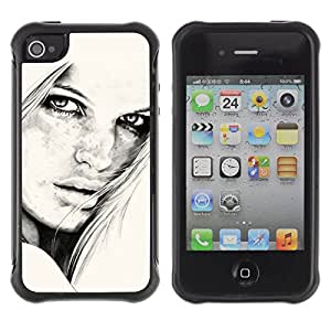 ZAKO Cases / Apple Iphone 4 / 4S / B&W Girl Eyes / Robusto Prueba de choques Caso Billetera cubierta Shell Armor Funda Case Cover Slim Armor