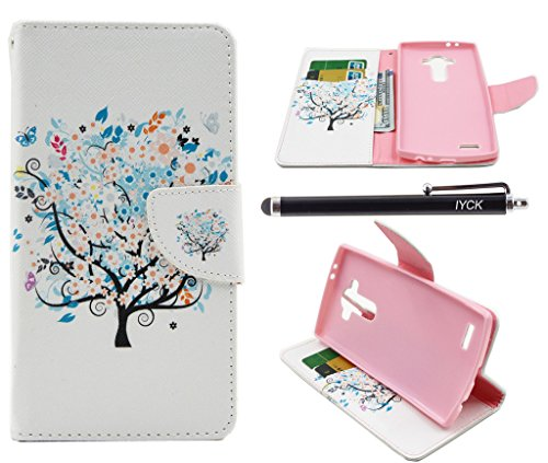 LG G4 Case, iYCK Premium PU Leather Flip Folio Carrying Magnetic Closure Protective Shell Wallet Case Cover for LG G4 with Kickstand Stand - Butterfly Floral Tree