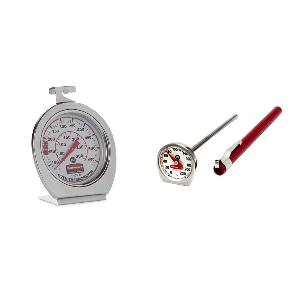 Rubbermaid Commercial Products Stainless Steel Instant Read Oven/Grill/Smoker Monitoring Thermometer & Food/Meat Instant Read Thermometer, Pocket Size, Dishwasher Safe (FGTHP220DS)