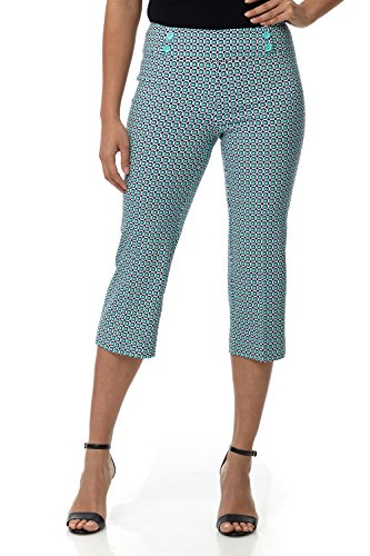 Rekucci Women's Ease in to Comfort Fit Capri with Button Detail (8SHORT,Navy/Aqua Tile)