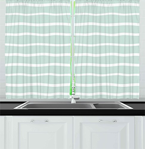 Mint Kitchen Curtains by Ambesonne, Horizontal Wavy Lined Color Striped Abstract Soft Toned Nautical Art Display, Window Drapes 2 Panels Set for Kitchen Cafe, 55W X 39L Inches, Almond Green White