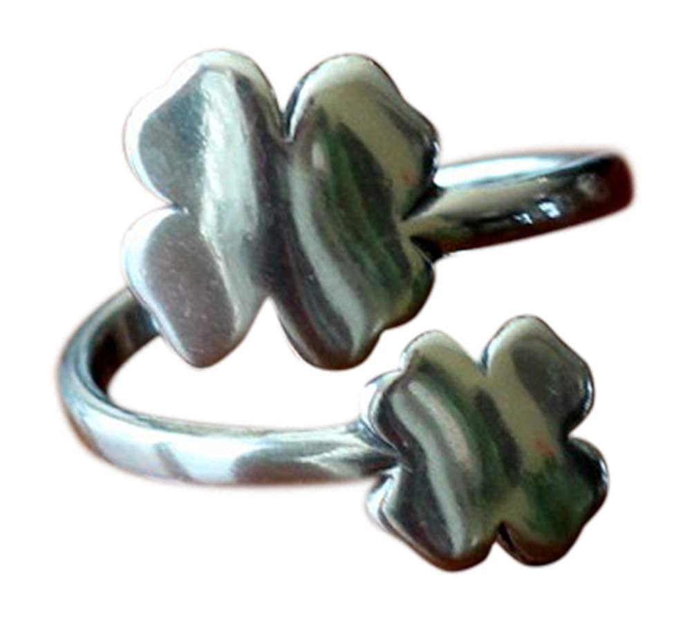Good Luck Gift Shamrock Ring Irish Jewelry K /& S Impressions Four Leaf Clover Ring