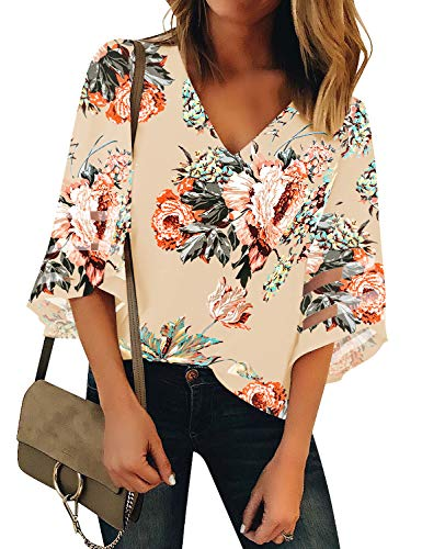 LookbookStore Women's V Neck Floral Print Mesh Panel Blouse 3/4 Bell Sleeve Loose Summer Top Shirt Wheat Size XX-Large ()