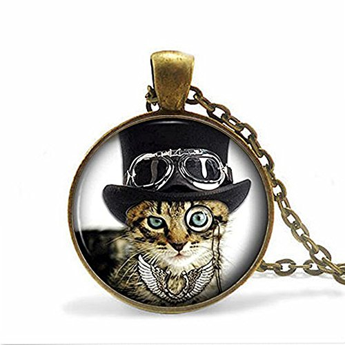Cool Cat Picture Pendant Necklace - Steampunk Funny Glass Kitten Kitty Jewellery
