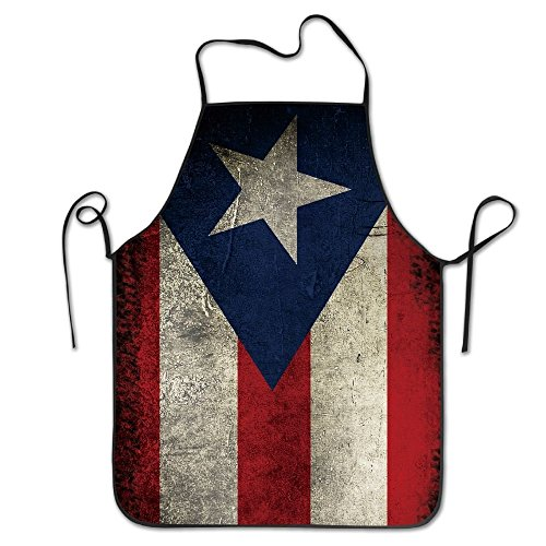 Puerto Rico Flag Vintage Cooking Apron Kitchen Apron, Lock Edge Waterproof Durable String Adjustable Easy Care Aprons For Women Men Chef