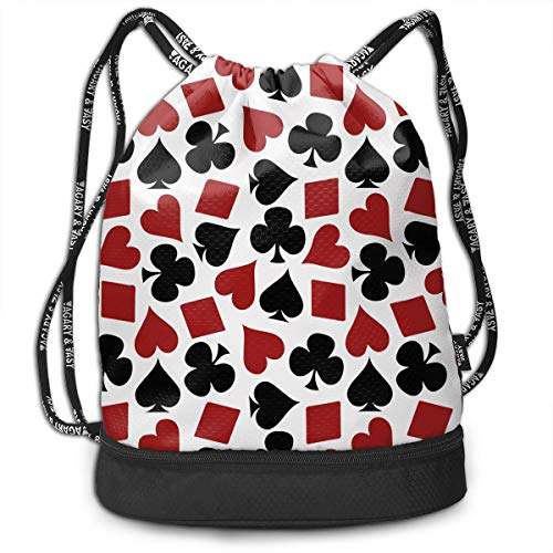 Playing Card Suit Casino Pattern Drawstring Bag Rucksack Shoulder Bags Travel Sport Gym Bag Print - Yoga Runner Daypack Shoe Bags with Zipper and Pockets (Favors Wedding Cards Playing Personalized)