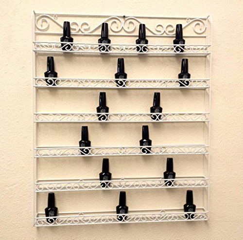 Pana Brand Professional Wall-Mounted WHITE Metal Frame Nail Polish Display Rack Organizer - Holds Up to 100 Bottles