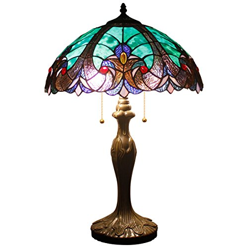 (Tiffany Style Lamps Stained Glass Table Lamp 24 Inch Tall Green Liaison Shade 2 Light Antique Base for Living Room Bedroom Coffee Table Reading Desk Beside Set S160G WERFACTORY)