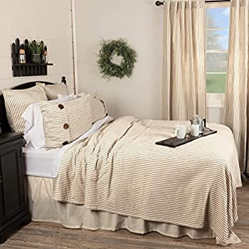 Image of Home and Kitchen Piper Classics Katie's Vintage Stripe King Coverlet Bedspread, 97' x 110', Urban Rustic Farmhouse Bedding, Natural Cream w/Black Stripes Blanket