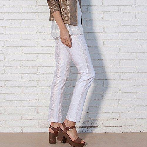 Kleymac Mosaic-214, Pantalones para Mujer Multicolor (Blanco / Dorado)