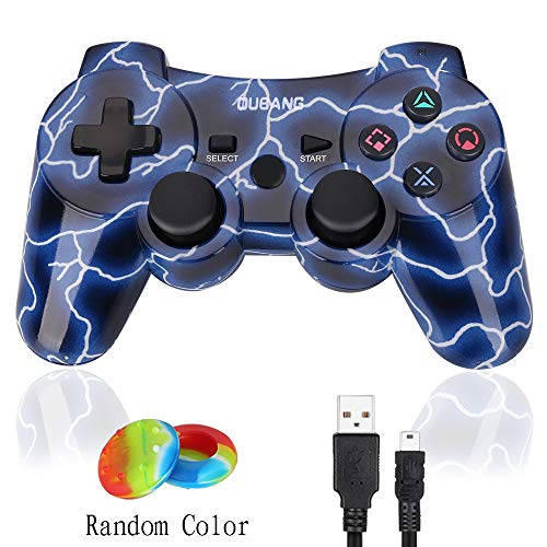 PS3 Controller Wireless Dualshock 3 - OUBANG Best PS3 Remote Sixaxis Control Gamepad for PlayStation 3 (Spark blue) (Best Modded Ps3 Controller)