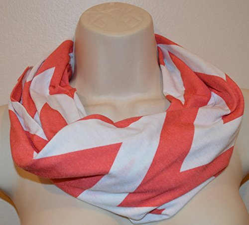 white and coral stripes infinity scarf, striped infinity scarf, women scarf, women loop, spring scarf, summer/fall scarf