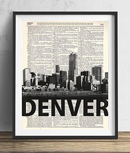 Denver Skyline With Bold Name Dictionary Art Print 8x10