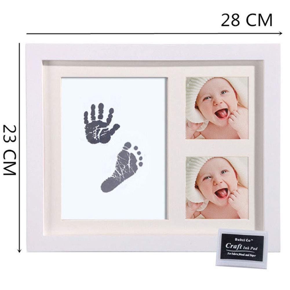 2 papel de impresi/ón 1 touchpad de tinta limpia CNNIK Kit de Marco Para Manos y Huellas de beb/é para ni/ño y ni/ña Ideal decoraci/ón o regalo de baby shower 1 Marco de madera