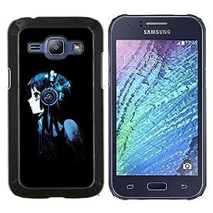 "Be-Star Único Patrón Plástico Duro Fundas Cover Cubre Hard Case Cover Para Samsung Galaxy J1 / J100 ( Hermoso Anime Muchacha de los auriculares"" )"