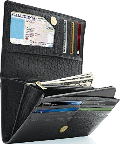 Leather Clutch Wallets For Women - Ladies Accordion Organizer RFID Blocking (Genuine Alligator)
