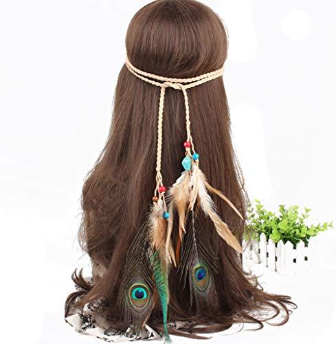 Hippie Fashion Headband Indiana Elegant Peacock Feather Headband Bohemian Gypsy Feather Headband Woman Girls Favorite Hair Accessories]()