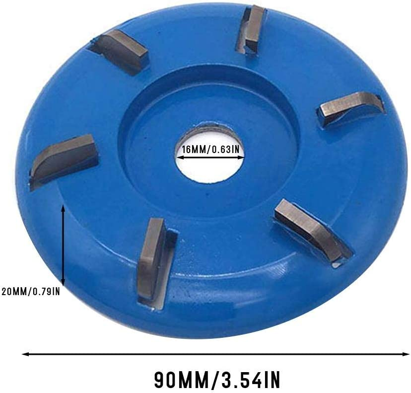 S WIDEN ELECTRIC 90MM Polishing Disc Blue Flat Teeth Woodworking Turbo Tea Tray Milling Cutter Digging Wooden Material Carving Tool for 16MM Aperture Angle Grinder