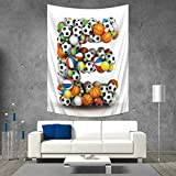 Anhuthree Letter E Wall Hanging Tapestries ABC of Sports Concept Different Gaming Balls First Name Initial Monogram Design Large tablecloths 57W x 74L INCH Multicolor