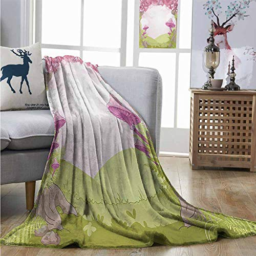 Homrkey Cozy Blanket Mushroom Cherry Blossom Trees Fairytale Land Forest Surreal Fantasy Wonderland Image Charisma Blanket W60 xL80 Green Pink Brown ()