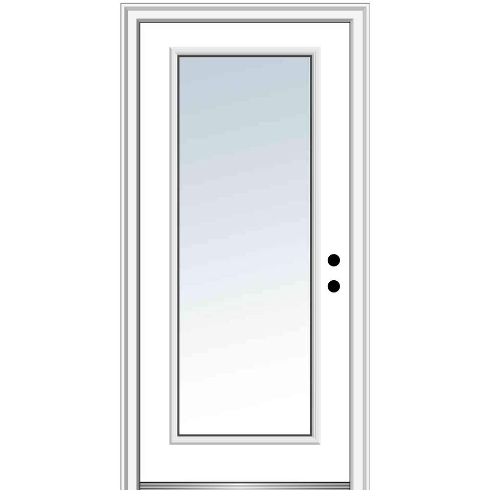 30x80 Left Hand Outswing Primed Fiberglass National Door Company ZZ364590L Fiberglass Smooth 1//2 Lite 2-Panel Clear Glass Prehung Door