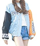 Womens Fashion Harajuku Long Sleeve Patch Printed Paneled Loose Casual BF Baseball Jacket