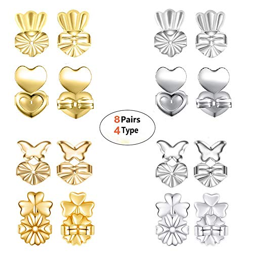 Earring Backs - 8 Pairs Earring Backs Set Adjustable Hypoallergenic Safety Locking Stud Earring Lifts Accessories for Women and Girls(4 Silvery, 4 Gold)