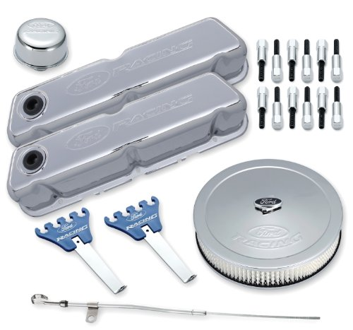 Chrome Engine Kit - Proform 302-515 Chrome Engine Dress-Up Kit with Embossed Ford Racing Logo for Ford 289-351 Windsor