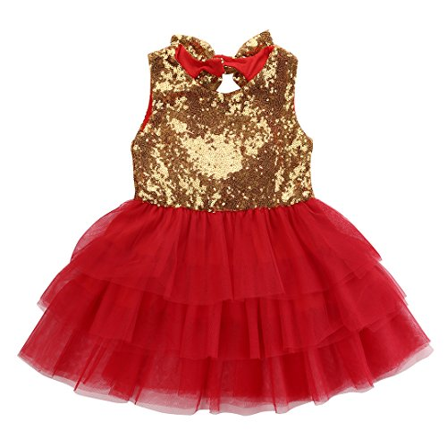 Kids Girls Princess Party Rose Flower Lace Ruffled Layered Tutu Skirt Dress 2-7y (6-7 Years, Red)