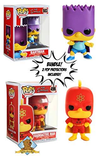 (The Simpsons Radioactive Man and Bartman Vinyl Pop Figure Bundle Featuring Golden Groundhog Pop Protectors)