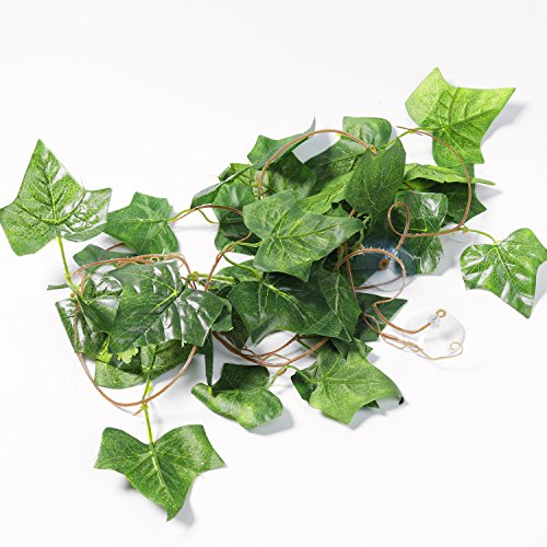 Silk Jungle Plants (SLSON Repta Vines Silk Reptile Vine Fake Jungle Terrarium Plants for Bearded Dragons,Lizards,Geckos,Snake Pets and Other Reptiles Amphibians Decorations,with Suction Cups,7.8 Feet Length)
