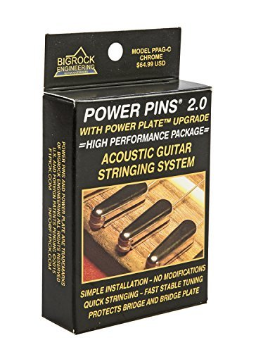- Power Pins 2.0 - Chrome Set with Power Plate Upgrade- Patented Bridge Pin System for Acoustic Guitars- Improved Tone, Amplified Sound, Easier Restringing, and Faster Tuning