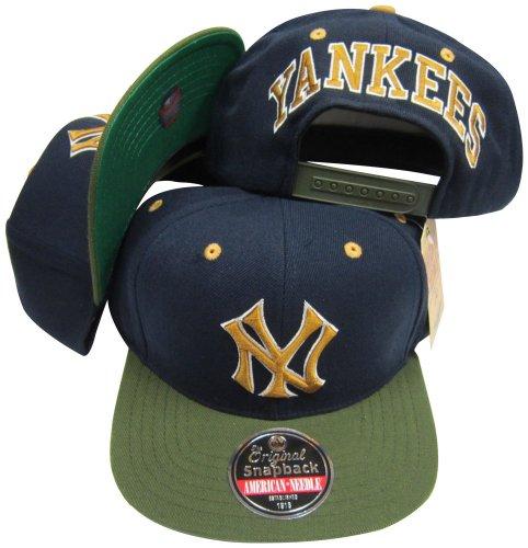 American Needle New York Yankees Navy/Olive Two Tone Plastic Snapback Adjustable Plastic Snap Back Hat/Cap (Yankees American Needle)