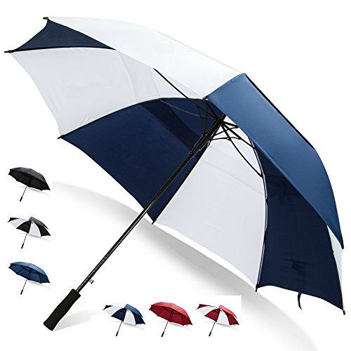 62 Inch Golf Umbrella (Blue/White, 1-Pack) Golf Accessories for Women Travel Umbrella Large Umbrella Large Umbrellas for Rain Windproof Rain Umbrellas for Men ()