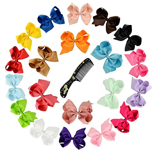 """Hair Bows , Ambielly 20Pcs Baby Girl Headbands Grosgrain Ribbon 6"""" Large Boutique Hair Bows Alligator Clips For Teens Kids (20 Solid Colors 6"""")"""