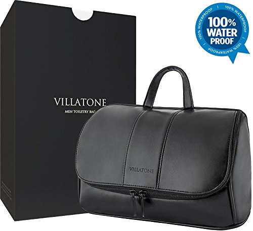 Leather Toiletry Bag for Men by VILLATONE. Large Black Hanging Travel Organizer, Shave Dopp Kit & Portable Bathroom Cosmetic Case for Man (with Premium Gift Box)