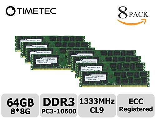 Timetec Samsung 64GB Kit (8x8GB) DDR3 1333MHz PC3-10600 Registered ECC 1.5V CL9 2Rx4 Dual Rank 240 Pin RDIMM Server Memory Ram Module Upgrade (Server Only, Not for Desktop/Laptop) (64GB Kit (8x8GB)) -