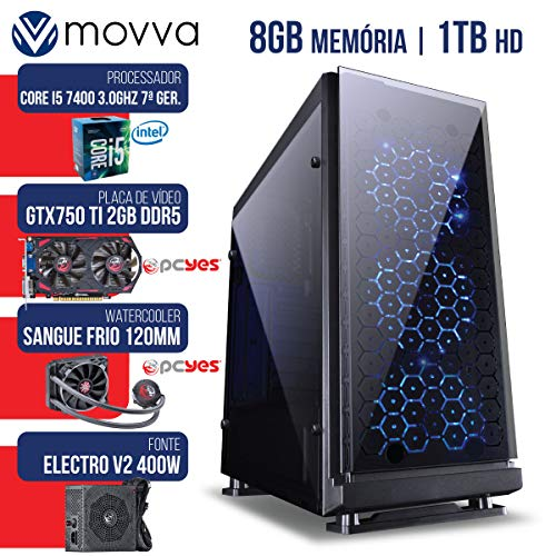 COMPUTADOR GAMER MVX5 INTEL I5 7400 3.0GHZ MEM 8GB HD 1TB GTX 750 TI 2GB DDR5 WATER COOLER SANGUE FRIO FONTE 400W LINUX - MOVVA