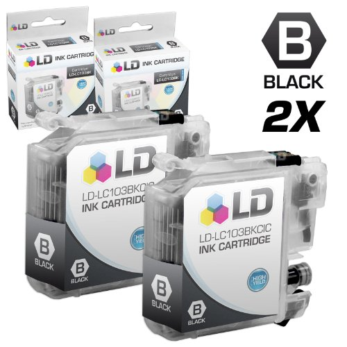 LD © Compatible LC103 Set of 2 Ink Cartridges: 2 Each of LC103BK Black for the MFC J245, J285DW, J450DW, J470DW, J475DW, J650DW, J6520DW, J6720DW, J6920DW, J870DW, J875DW and DCP-J152W Printers