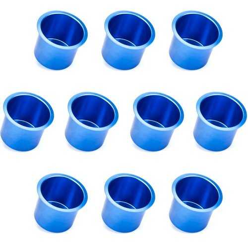 Lot of 10 Vivid Blue Aluminum Cup Holders by Brybelly ()