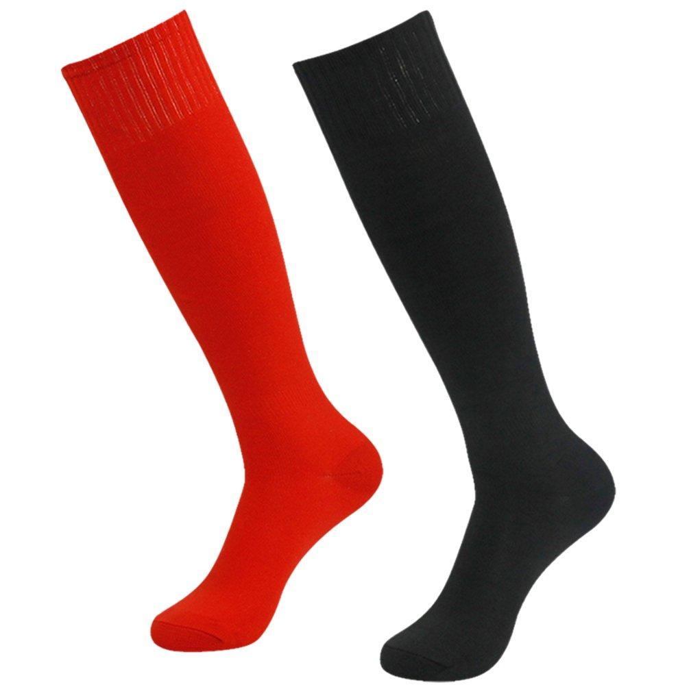 Getspor Long Tube Socks, Youth Classic Knee High Costume Cheerleading Basketball Baseball Socks Red and Black 2 Pairs