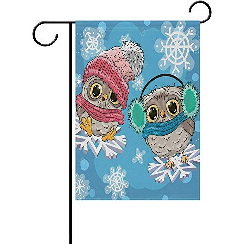 Starodet Cute Owls with Snowflake Double Sided Polyester Garden Flag 12